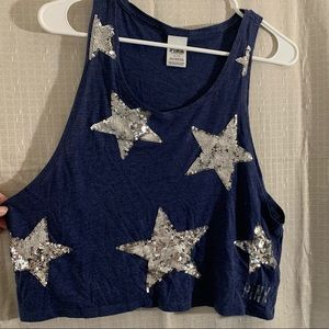 VS Cropped Blue Tank w/ Silver Sequined Stars SM